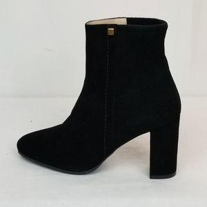 Stuart Weitzman Black Suede Block Heel Ankle Boots